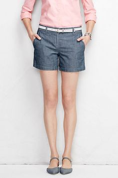 """Women's Not-Too-Low Rise 5"""" Chambray Shorts from Lands' End"""