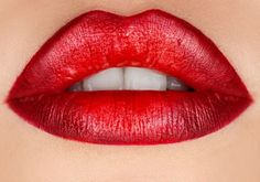 Red lipstick lips with perfect red lipstick