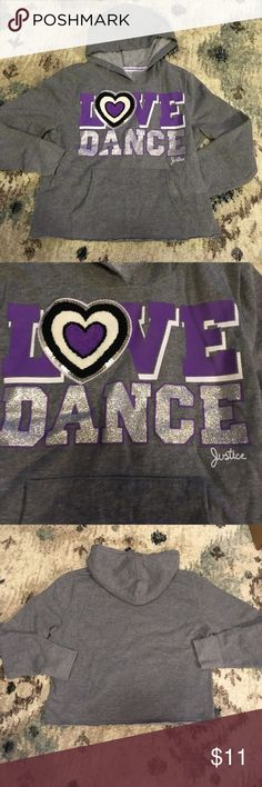 Girls Justice Love Dance hoodie sweatshirt 14 Gray hoodie  Sweatshirt  Size 14  Love Dance  Material in heart is letter jacket Justice Shirts & Tops Sweatshirts & Hoodies