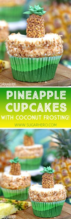 Pineapple Cupcakes - fun and tropical pineapple cupcakes with coconut frosting. Plus an adorable buttercream pineapple on top! | From SugarHero.com Baking Cupcakes, Yummy Cupcakes, Cupcake Recipes, Baking Recipes, Cupcake Cakes, Dessert Recipes, Diabetic Cupcakes, Cupcake Flavors, Cup Cakes