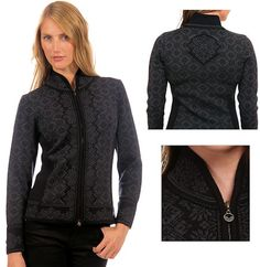 Dale of Norway Womans CHRISTIANIA Merino Wool Cardigan Style 81951 K in Black