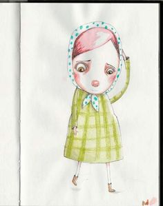 Scratching her head - Sketchbook drawing by JACQUELINE HUDON-VERRELLI