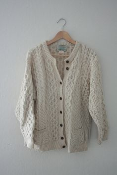 vintage authentic irish fisherman knit wool sweater for sale // http://foganddriftwood.etsy.com
