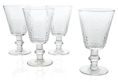 One Kings Lane - Style Your Table - S/4 Embossed Wineglasses, Clear