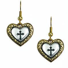 Heart Earrings - Two-Tone w/ Cross Cross Earrings, Heart Earrings, Dangle Earrings, Christian Jewelry, Christian Shirts, Dangles, Christmas Ornaments, Holiday Decor, Pendant