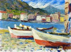 """Wassily Kandinsky (Russian, Expressionism, 1866-1944): Rapallo, Boats; 1905. Oil on board, 24 x 33 cm. Private Collection. © This artwork may be protected by copyright. It is posted on the site in accordance with fair use principles.  """"The joy of life consists in the inevitable, continual triumph of new values."""" (Wassily Kandinsky)"""