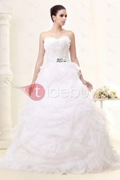 ボールガウン床までの長さスウィートハートラッフルウェディングドレス
