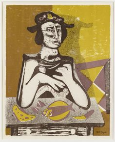 'Woman at Table' by Scottish artist Robert MacBryde Lithograph. via The Fry Art Gallery Chelsea School Of Art, Glasgow School Of Art, Collage Illustration, Royal College Of Art, Art Studies, Custom Art, Online Art Gallery, Painting & Drawing, A Table