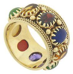 14k Yellow Gold Multi-colored Stone Ring, Circa 1950