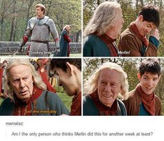 My headcanon is that Merlin did not take the spell off Arthur for at least a week. Merlin Serie, Merlin Show, Merlin Fandom, Merlin 2, Merlin Memes, Merlin Funny, Merlin Quotes, Sherlock Quotes, Bbc Tv Shows