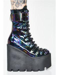 Oil Slick Traitor Boots #dollskill #edc #edccollection #rave #ravegirl #kandi #newarrivals #clubexx #vegas