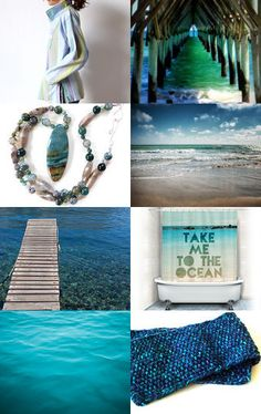 """paroliro on ETSY original OOAK design handknit blues, turquoise and greens wool scarf https://www.etsy.com/listing/58687387/scarf-tweed-wool-turquoise-purple-teal featured on dreamy """"Beachcomber"""" Treasury curated by my talented fellow Etsian Glenda.  [*Click on image to see all 16 items she chose!] --Pinned with TreasuryPin.com"""