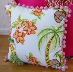 Hula Print 18x18 Decorative Pillow