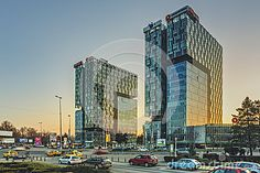 Bucharest, Romania - March 03, 2013: City Gate Towers at sunset, two class A 18 floor office buildings with a surface of 36,000 m2 (18,000 m2 each), 1 000 parking spaces.