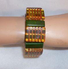 Apple Juice & Marbled Green Vintage Bakelite Stretch Bracelet