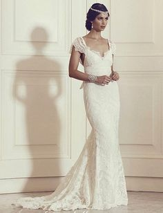 Sexy Mermaid Open Back Cap Sleeves High Quality Lace Wedding Dress