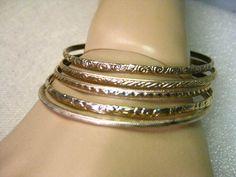 """Vintage Gold Tone Set of 5 Stamped & Textured Bangle Bracelets, 1960-70s, 7.75"""" #unsigned #bangle"""