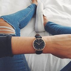 kapten & son watch + ripped jeans + slip-ons #topshop #charlotterusse