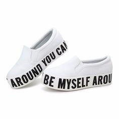 Canvas Fashion Letter Platform Slip On Flat Loafers
