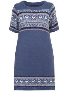 Evans Blue Fairisle Heart Knitted Tunic