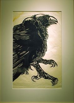 Leonard Baskin.  Did the illustrations for Ted Hughes' Crow poems.    http://www.thebeckoning.com/poetry/hughes/hughes5.html