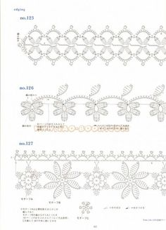 Crochet and arts: Ondori motif edging designs and craft books: motif & edging designs magazine, free crochet books - crafts ideas - crafts for kidsmotif & edging design - - Álbuns da web do PicasaCrochet Knitting Handicraft: patterns of fragments w Crochet Border Patterns, Crochet Lace Edging, Crochet Diy, Crochet Motifs, Crochet Books, Crochet Diagram, Crochet Chart, Irish Crochet, Crochet Doilies