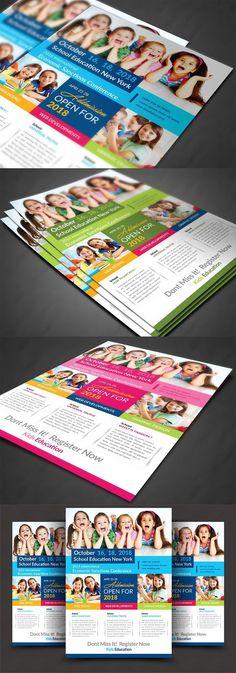 School Education Flyer School Advertising, Advertising Sales, School Secretary, Leaflets, Letter Size, Business Flyer, Flyer Template, Flyers, Layout Design