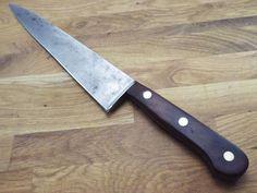 antique carved wood handle vintage bread knife carbon steel blade plain edge nice antiques. Black Bedroom Furniture Sets. Home Design Ideas