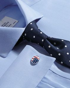 Navy and white silk classic spot tie