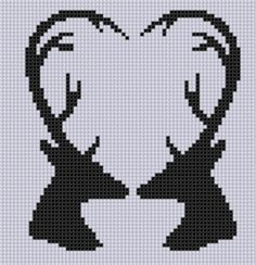 (10) Name: 'Embroidery : Deer Heart Cross Stitch Pattern