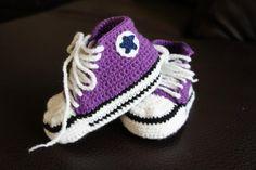 Purple crochet converse shoes