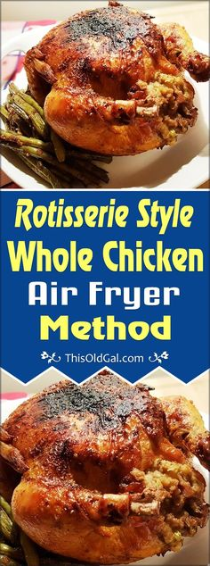 150 Best Air Fryer Recipes With this Rotisserie Style Whole Chicken Air Fryer Method, you will enjoy a very juicy chicken with a flavorful crisp skin. Low carb and keto too! Power Air Fryer Recipes, Air Fryer Oven Recipes, Air Fryer Recipes Whole Chicken, Air Fryer Rotisserie Recipes, Whole Chicken Marinade, Air Fryer Recipes Dessert, Power Air Fryer Xl, Nuwave Air Fryer, Poulet Keto