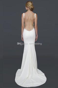 Wholesale Sheath Wedding Dresses - Buy Sexy Backless Beach Wedding Dresses 2014 Spaghetti Straps Draped Neckline Lacy Open Back Wedding And ...