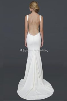 Wholesale Sheath Wedding Dresses - Buy Sexy Backless Beach Wedding Dresses 2014 Spaghetti Straps Draped Neckline Lacy Open Back Wedding And ...