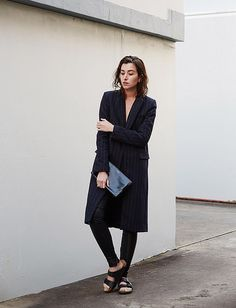 Winter style pinstripe coat www.thechroniclesofher.blogspot.com