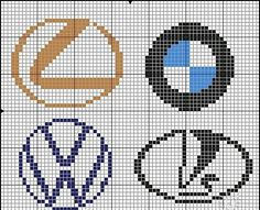 Cars logo x-stitch Hama Beads Design, Hama Beads Patterns, Beading Patterns, Cross Stitch Designs, Cross Stitch Patterns, Quilt Patterns, Plastic Bead Crafts, Vw Emblem, Pix Art