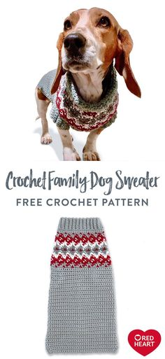 Crochet Family Dog Sweater free crochet pattern in Red Heart Super Saver. Your favorite furry friend has classic style in this Nordic-inspired crochet dog coat to keep him cozy! We designed the colorwork to match the crochet family hats. The interesting pattern is created using a combination of crochet color work in single crochet. It's a great look for the family greeting card photo or to create the perfect Instagram moment! Easy Knitting Patterns, Crochet Patterns, Pet Sweaters, Super Saver, Dog Jacket, Soft Blankets, Garter Stitch, Knitting For Beginners, Dog Coats