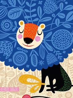 orange you lucky!- blue spirit bloom by Helen Dardik Magazine Illustration, Children's Book Illustration, Unique Toys, Helen Dardik, Lions, Folk Art, Art For Kids, Creations, Illustrations Posters