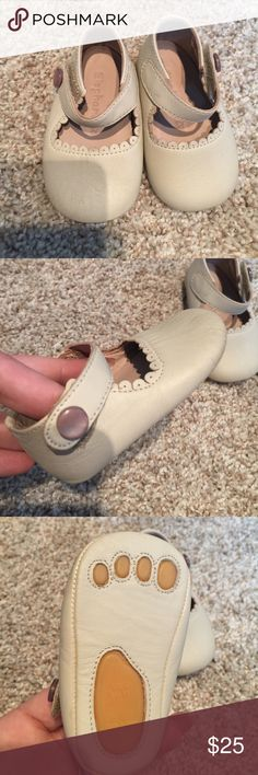 Size 2 Baby walker shoes- NWOT NEW WITHOUT TAGS- Size 2 Taupe colored with scalloped detail baby walker shoes. Never been worn! The soles are completely soft but aren't completely hard either. All offers welcome- bundle to save even more! No off posh transactions! Elephantito Shoes Baby & Walker