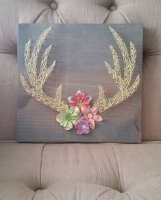 Floral Antlers String Art from Trashy Ashley #Crafts
