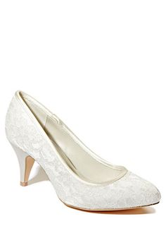Ivory Wedding Collection Wide Fit Lace Point Court Shoe
