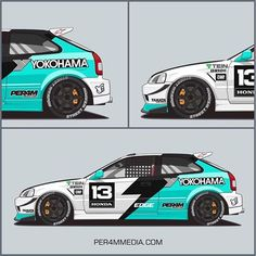Livery - Everything About Cars Honda Racing, Honda Cars, Car Folie, Corsa Wind, Cool Car Drawings, Design Autos, Vehicle Signage, Racing Car Design, Honda Civic Hatchback