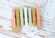 Washi Clothespins Set of 7 Mini Clothespins Mint by ThurstonPost