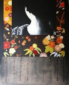 geigha and black kimono  oil painting  100x81 cm  1750 €