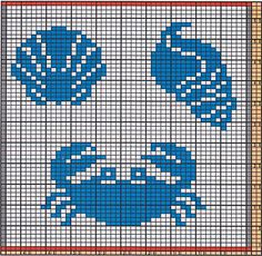 Here I offer only the chart pattern for a potholder. I am assuming that you are familiar with the double-faced knitting technique too.