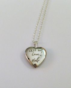 Personalized handwriting engraved heart locket in sterling silver (up to 15 characters)