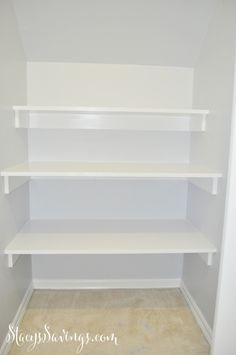 How to build built in shelving in a closet under the stairs.  Easy DIY storage | Simple Built Ins | Closet Organization