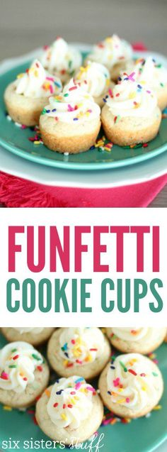 LOVE these Funfetti Cookie Cups from SixSistersStuff.com. They are made with a cake mix so they are simple and so delicious!