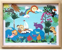 Nursery Art, Collage, Colorful, Frame, Kids, Handmade, Home Decor, Picture Frame, Young Children