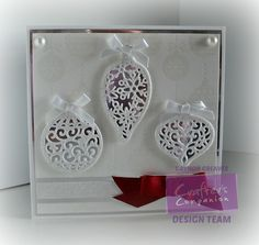 6 x 6 card using the Sara Signature Traditional Christmas. collection Decorative baubles die - designed by Gaynor Greaves #crafterscompanion #Christmas